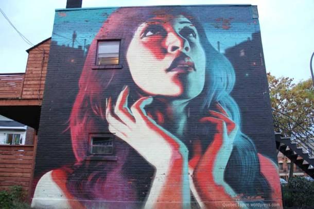 Portrait géant visible sur le boulevard Rosemont à Montréal