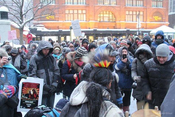 Rassemblement au square Philips à Montréal